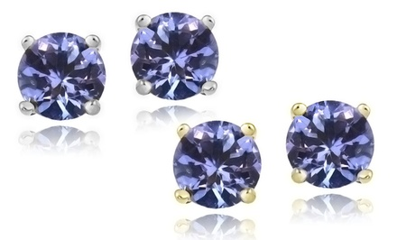 1 CT Tanzanite Stud Earrings Set in Sterling Silver or 18K Gold Over Sterling Silver