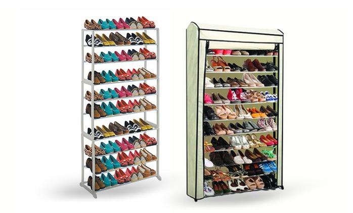 ארון נעליים מודולרי בעל 10 מדפים לאחסון עד 50 זוגות, ב-2 דגמים לבחירה