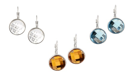 Bezel-Set Earrings with Swarovski Elements