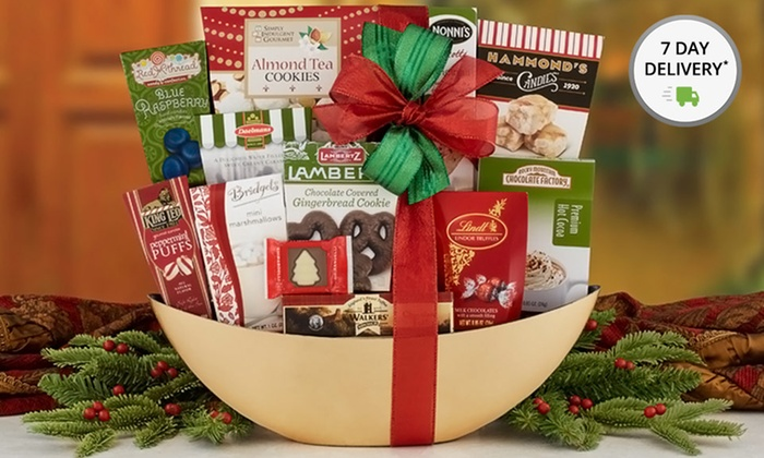 Deck the Halls Sweets Gift Basket: Deck the Halls Sweets Gift Basket with Candies, Cookies, Hot Cocoa, and More