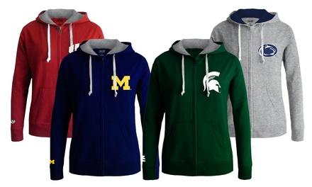 Women's NCAA Full Zip Hoodie. Schools M-W Available.