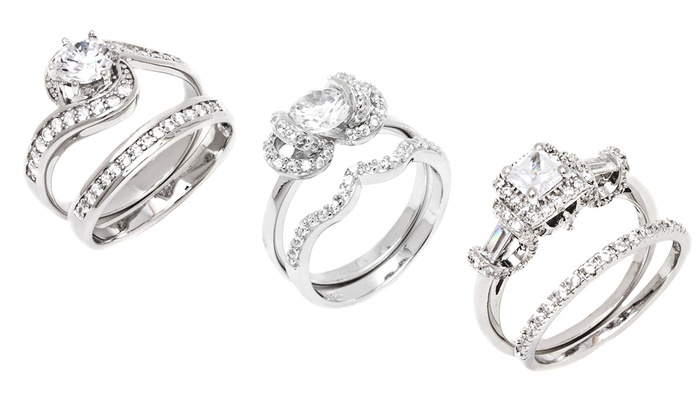 Cubic Zirconia Bridal Ring Sets In Rhodium Plated Sterling Silver