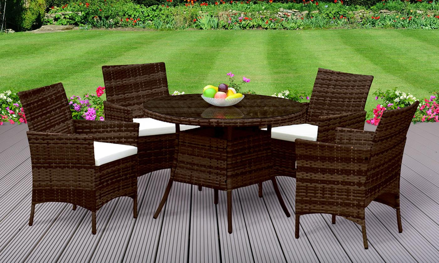 Valletta Outdoor Rattan-Effect Dining Set with Optional Cover (£329.99)