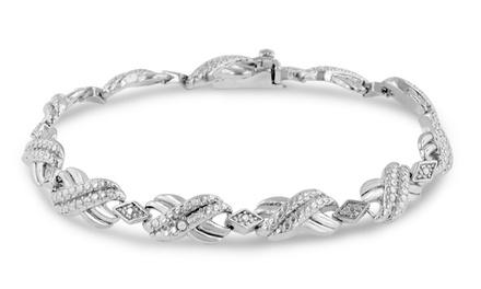 Love Knot 1/100 CTW Diamond Bracelet with Platinum Overlay