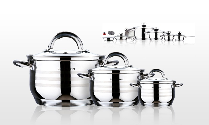 batterie de cuisine inox groupon shopping. Black Bedroom Furniture Sets. Home Design Ideas