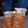 Cable-Knit Lace-Trim Boot Cuffs with Buttons