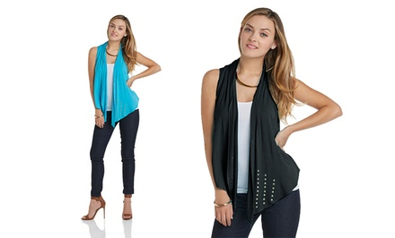 Tart Collections Women's Studded Vests in Black or Turquoise. Free Returns.