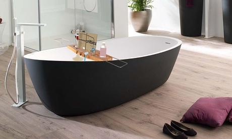 Organizzatore in acciaio e bambù per vasca da bagno