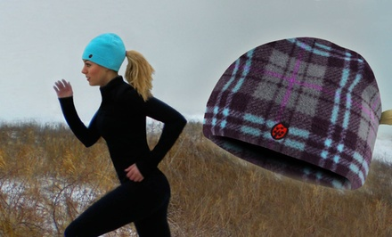 Pony Bug Fleece Running Beanie with Ponytail Opening