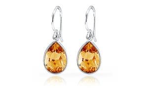 3.00 Ctw Genuine Citrine Pear Shape Drop Earrings In Sterling Silver