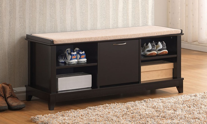 Sensational Baxton Studio Roderica Solid Wood Shoe Storage Bench With Cushion Ocoug Best Dining Table And Chair Ideas Images Ocougorg
