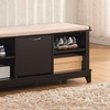 Baxton Studio Roderica Solid-Wood Shoe Storage Bench with Cushion