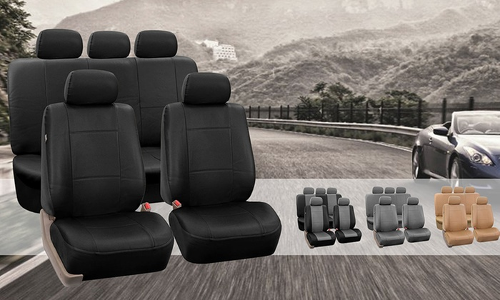 Faux Leather Car Seat Cover Set