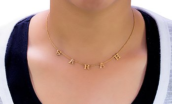 Up to 87% Off Custom Letter Name Necklace from MonogramHub