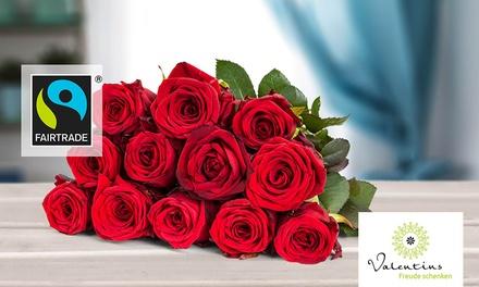 12 Fairtrade Rosen in Rot, Rosa oder Gelb Orange von Valentins (30% sparen*)