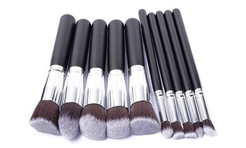 Ten-Piece Kabuki Makeup Brush Set