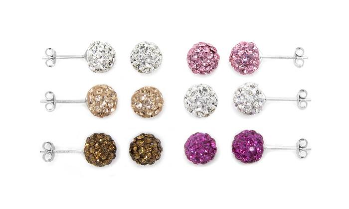 Set Of 3 Pairs Swarovski Elements Crystal Ball Stud Earrings