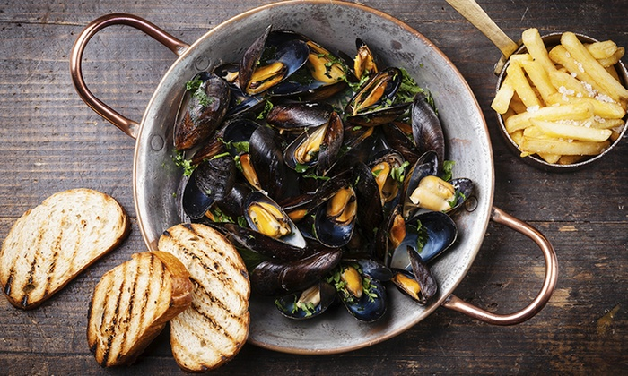 Bistro 1902 - Downtown Hollywood: All-You-Can-Eat Mussel Dinner with Fries and Unlimited Wine for Two or Four at Bistro 1902 (61% Off)