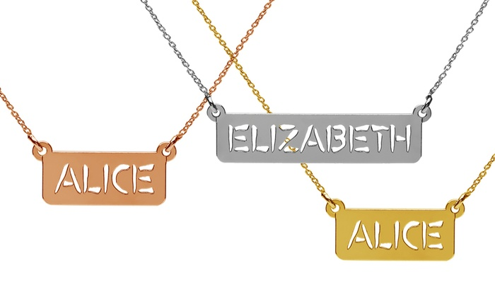 Jewells House: Custom Nameplate Bar Necklace in Sterling Silver from Jewellshouse