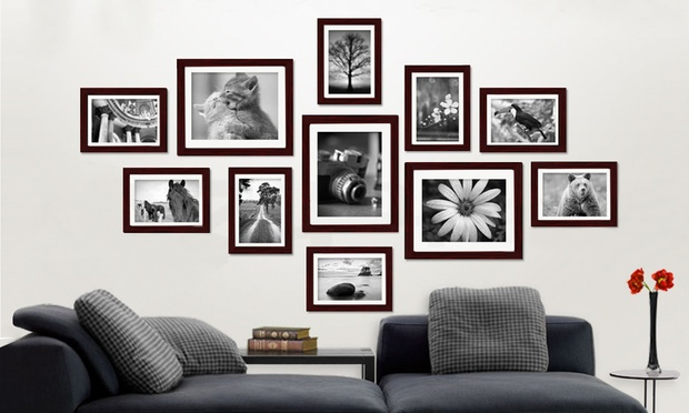 Black And White Photo In Brown Frame
