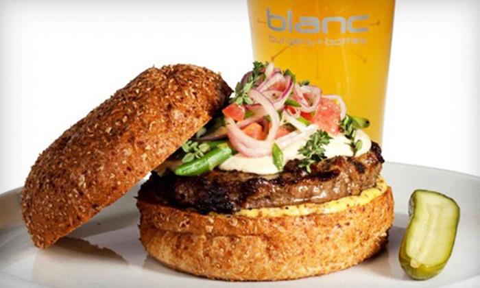 Blanc Burgers + Bottles - Multiple Locations: $12 for a Gourmet-Burger Meal for Two with One Side a la 'Cart' Item at Blanc Burgers + Bottles (Up to $26.85 Value)