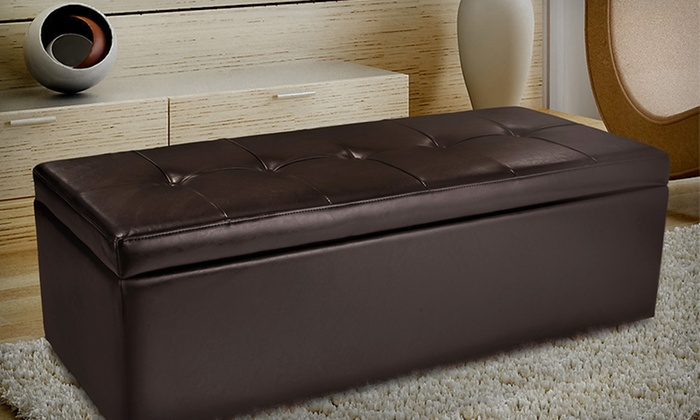 Bonded-Leather Storage Ottomans: Bonded-Leather Storage Ottomans (Up to 54% Off). Three Styles Available. Free Shipping and Free Returns.