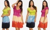 Juniors' Short-Sleeve Tie-Dye Dress: Juniors' Short-Sleeve Tie-Dye Dress
