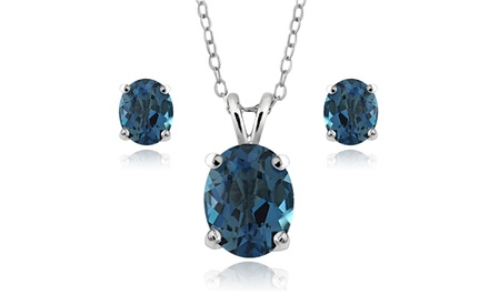 4.5CTTW London Blue Topaz Necklace and Earrings Set in Sterling Silver