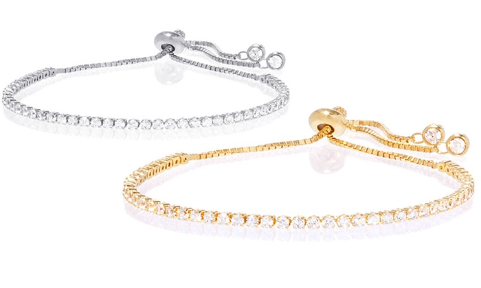 dedcec4baf1cde Adjustable Tennis Bracelet in 18K Gold Plated Sterling Silver with Swarovski  Elements