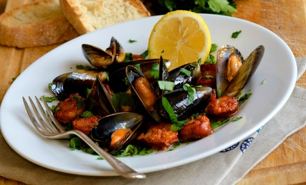 Seafood Dinner for Two or Four with Wine, Entrees, and Dessert at Big Fish (49% Off)