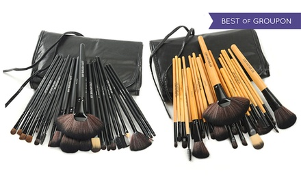 Makeup Brush 24-Piece Set with Vegan Leather Case