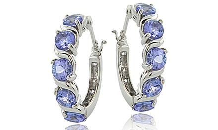 2.75 CTTW Tanzanite Hoop Earrings in Sterling Silver