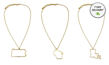 Gold-Plated State and Country Outline Necklaces. Multiple Styles Available. Free Returns.