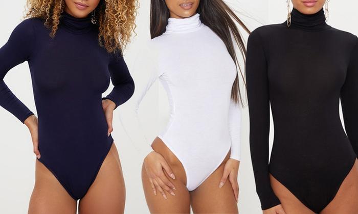 Three-Pack of Fleece-Lined Roll-Neck Bodysuit
