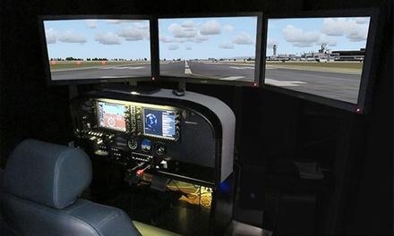 Experiencia en simulador de vuelo a escala de un avión Cessna 172 con instructor de vuelo profesional
