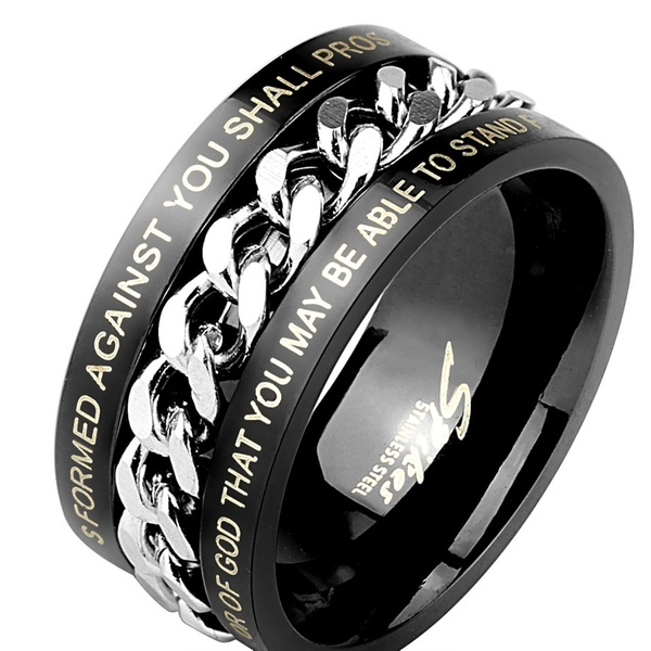 Men's Comfort-Fit Chain Ring with Bible Verses