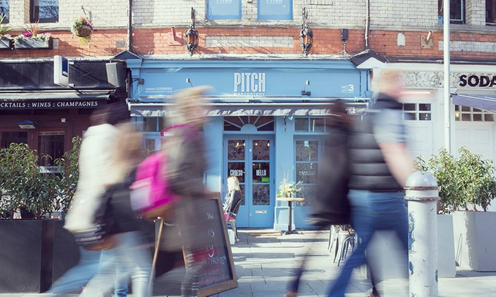 Lunch or Early Evening Meal with a Choice of Soft Drink for Two at Pitch Cardiff Bar & Eatery