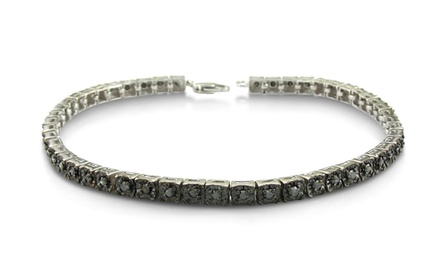 1 CTTW Black Diamond Tennis Bracelet in Sterling Silver by Femme Luxe