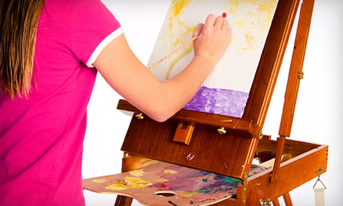 Art with a Twist - Downtown Akron: Kids' Class with Canvas, Plaster or Bisque Piece, or Piggy Bank, or Kids' Party at Art with a Twist (Up to 67% Off)