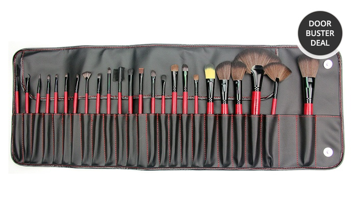 Beaute Basics 24-Piece Cosmetic Brush Set with Case: Beaute Basics 24-Piece Cosmetic Brush Set with Case