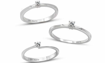 Solitaire ring van Haris Diamonds in 925 sterling zilver en een echte diamant