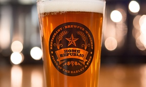 Home Republic: Beer Class for Two or Four with Empty Growlers and Appetizers at Home Republic (Up to 55% Off)