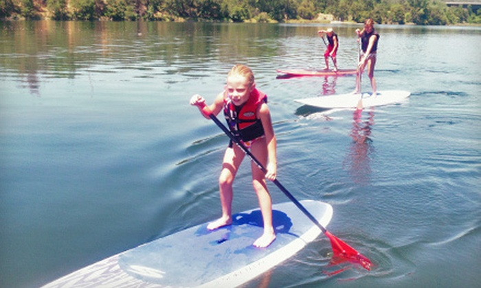 WakeSUP - Folsom: Sunset Stand Up Paddleboard Tour and Lesson for Two or Guided Stand Up Paddleboard Tour and Lesson  for Two or Four from WakeSUP (Up to 58% Off)
