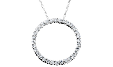 0.50 CTTW Circle Diamond Pendant in Solid 14K White Gold