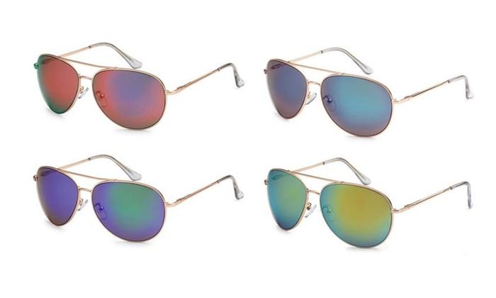 Retro Optix Unisex Mirror-Lensed Aviator Sunglasses (4-Pack)