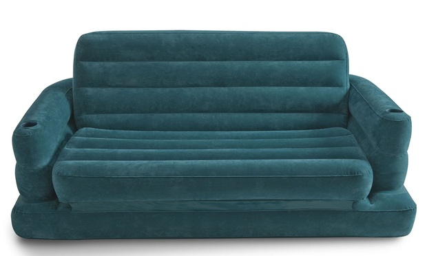Inflatable pull out sofa bed groupon goods for Sofa bed groupon