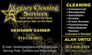 5-Star Legacy Cleaning Services: Up to 51% Off House/Room cleanings at 5-Star Legacy Cleaning Services