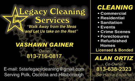 Up to 51% Off House/Room cleanings at 5-Star Legacy Cleaning Services