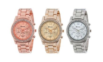 Relógio unisexo Geneva Crystal disponível em três cores por 14,90€