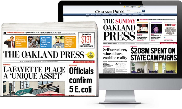 The Oakland Press: 13-Week Daily Subscription or 52-Week Sunday Subscription to The Oakland Press (Up to $78 Off)